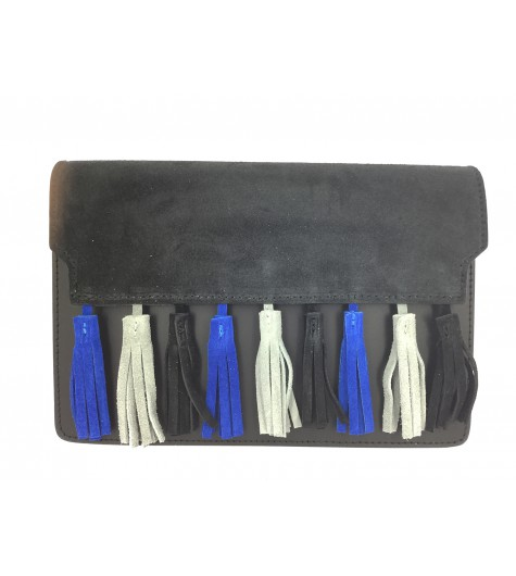 Cross body leather bag - Suede flap and pom poms decoration.