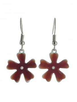 Earrings - Enamelled flowers with gemstones.