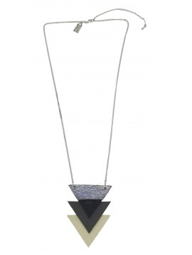 Necklace - Overlaid triangles charm.