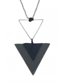 Long Necklace - Metal and fabric triangles charm.