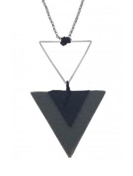 Collier Long - Triangle en métal et en tissu.