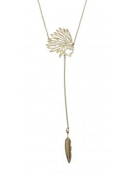 Collier Long - Tête d'indien avec plume pendante.
