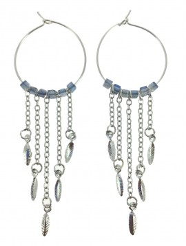 Boucles d'oreilles - Cercle avec perles à facettes et chaînes.