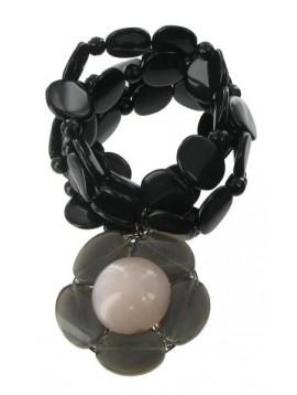Bracelet multirangs pastille + fleur