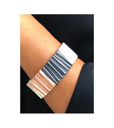 Bracelet - Manchette vagues métalliques.