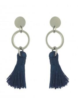 Boucles d'oreilles Acier - Pompon uni et anneau.