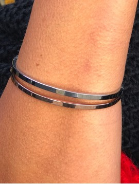 Stainless Steel Bracelet - Thin plain bangle.