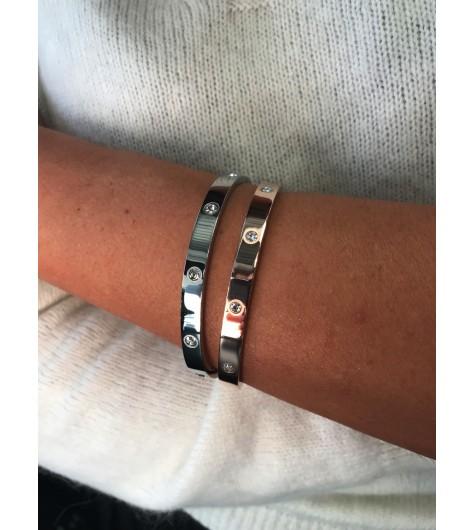 Bracelet Acier - Clip large lisse avec strass