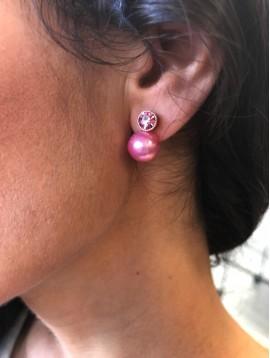 Boucles d'oreilles - Perles avec paillettes et strass.