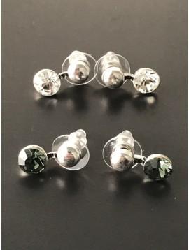Earrings - Plain bead with gemstone.