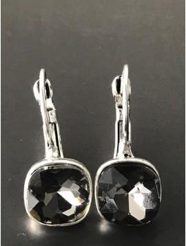 Earrings - Square gemstone charm.