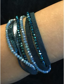 Bracelet - Double loop with faceted beads and leather style laces.