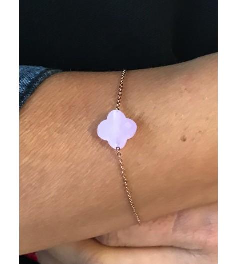 Bracelet Acier - Fleur à facettes sur chaîne.