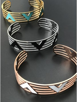 """Stainless Steel Bracelet - Open work plain cuff with coloured """"V"""" shaped motif."""