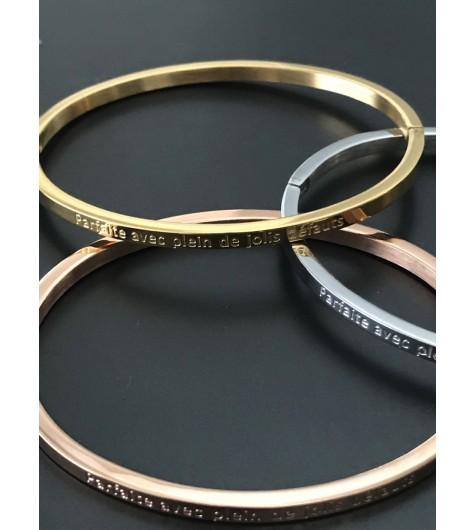 """Stainless Steel Bracelet - Thin bangle with """"Parfaite avec plein de jolis défaults"""""""