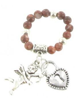 Bague Fantaisie élastique - Coeur et ange sur petites perles