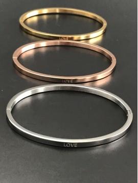 """Bracelet Acier - Clip fin """"Love"""""""