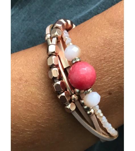 Bracelet aimant - Multirangs perles diverses