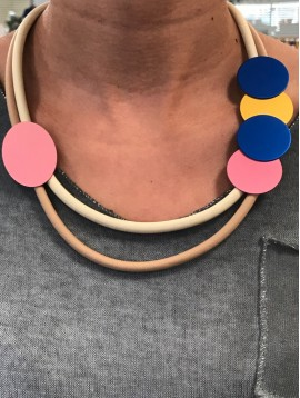 Necklace - Rubber lace with coloured metallic discs charms.