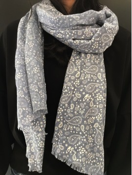 Scarf - Plain color with small paisley pattern.