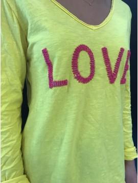 """Tshirt - Uni manches longues avec mot """"LOVE"""" devant."""