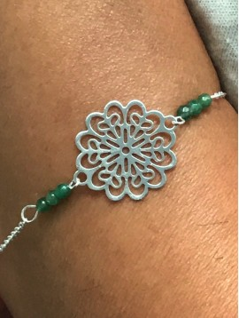 Bracelet - Filigree rose with beads.