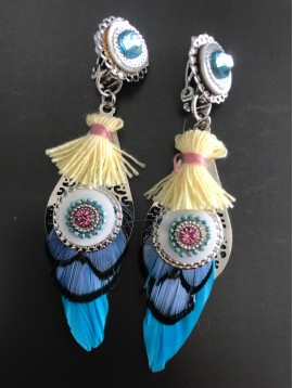 Earrings - Rose with gemstone and feather charm with pompom.