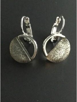 Earrings - Half resin and metallic circle.