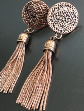 Earrings - Rose with metallic tassels charms.