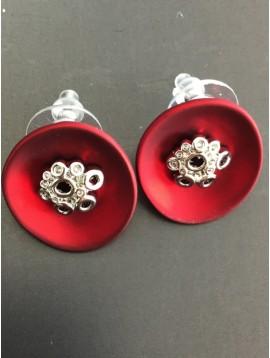 Earrings - Matt stylized disc charm flower look.