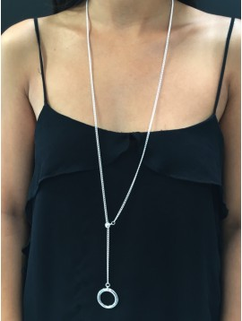 Long Necklace - Sliding chain with ring