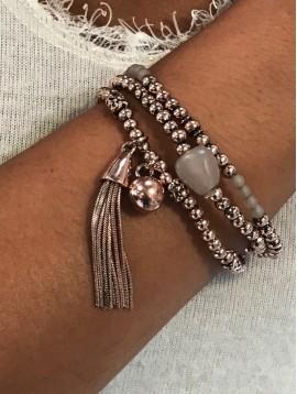 Bracelet éla - Multirangs boules et pompon métal