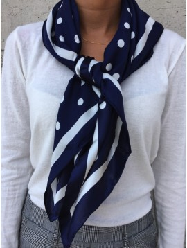 Silk square scarf - Polka dots printing with plain edges.