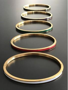 Bracelet Acier - Clip fin avec bande de couleur