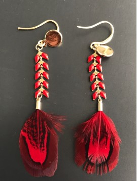 Earrings - Feather on spike chain
