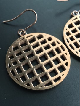 Stainless Steel Earrings - Rounded chequered.