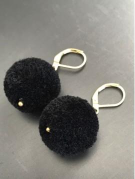 Earrings - Round pom poms.
