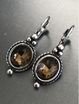 Earrings - Square gemstone with metallic drop.