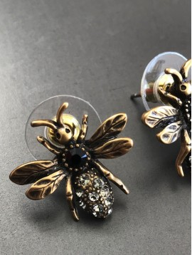 Earrings - Bee charm with gemstones decoration