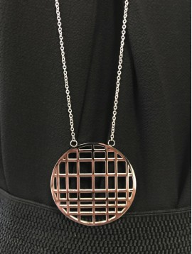 Long Stainless Steel Necklace - Chequered disc charm.