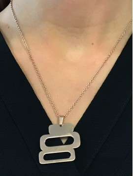 Stainless Steel Necklace - Three rectangles charm.