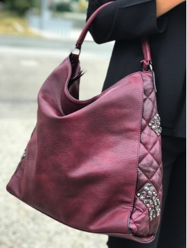 Hobo Bag - Padded look with rivets and rhinestones.