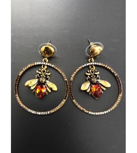 BO percées - Anneau métal avec abeille pendante