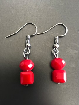 Earrings - Round and square faceted beads.