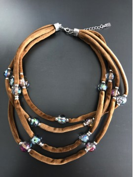 Necklace - Multi-strand velvet with faceted beads.