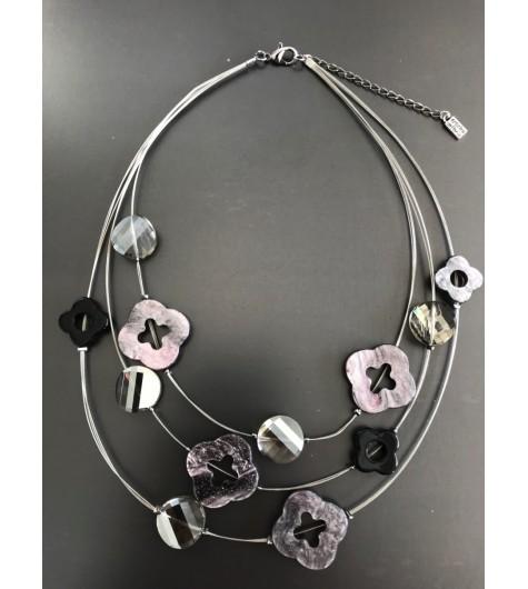 Collier - Multirangs avec fleurs résine