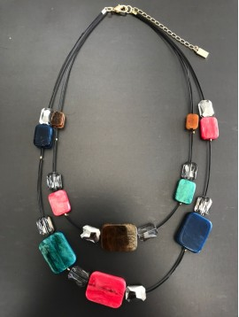 Necklace - Resin rectangles set on laces.