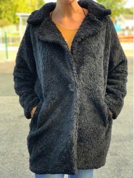 Manteau - Uni style fourrure avec intérieur style léopard.