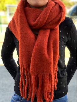 Scarf - Plain color thick model with tassels.