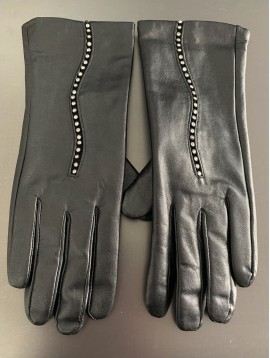 Leather gloves - Plain color with rhinestones decoration.